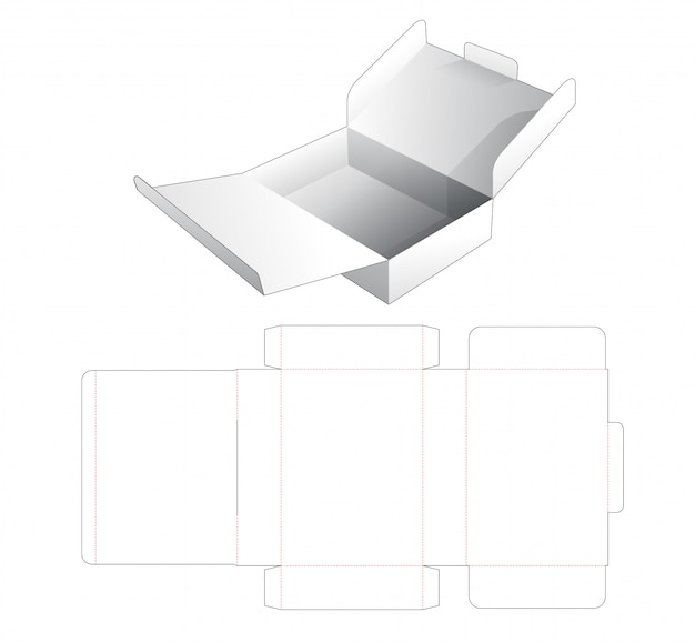 Modelo de corte e vinco de caixa de bolo de papelão 2 flip