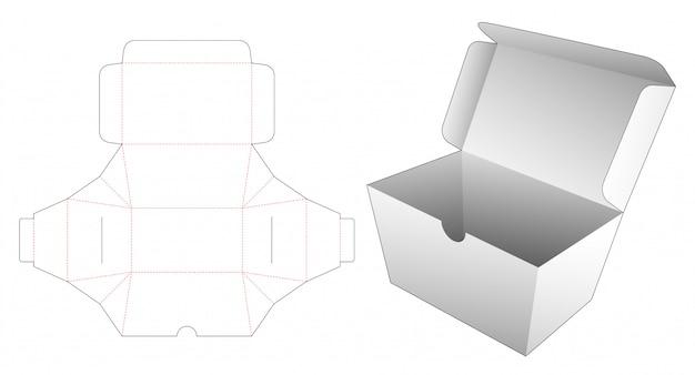 Modelo de corte e vinco de caixa de comida de entrega
