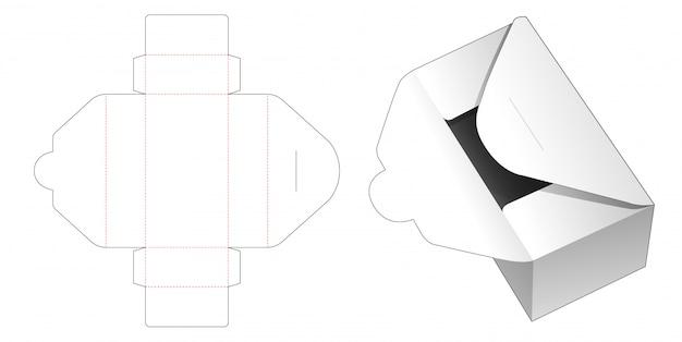 Modelo de corte e vinco de caixa de correio de entrega de papelão