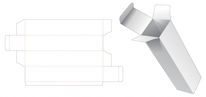 Modelo de corte e vinco de caixa de embalagem alta