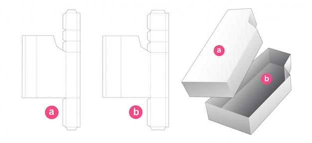 Modelo de corte e vinco de caixa de embalagem de 2 peças