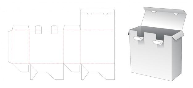 Modelo de corte e vinco de caixa de embalagem de 2 pontos de bloqueio