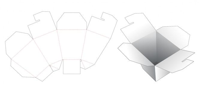 Modelo de corte e vinco de caixa de embalagem de alimentos para entrega