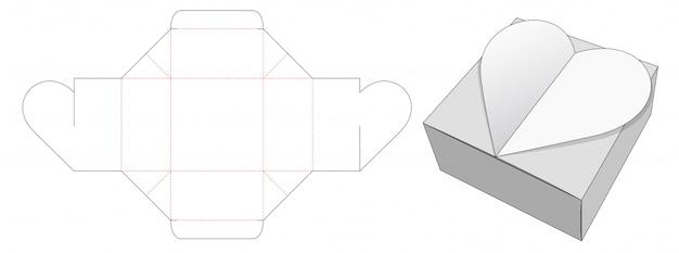Modelo de corte e vinco de caixa de embalagem de coração