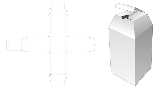 Modelo de corte e vinco de caixa de embalagem de garrafa