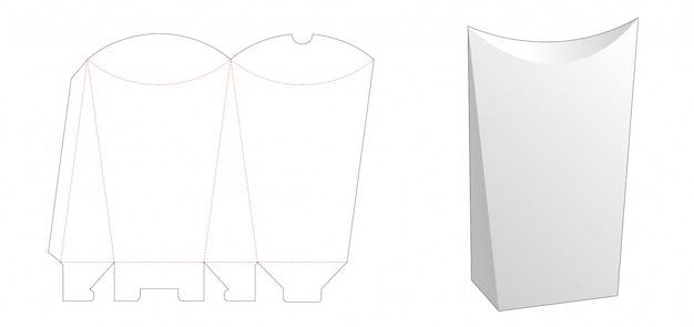 Modelo de corte e vinco de caixa de embalagem de pipoca