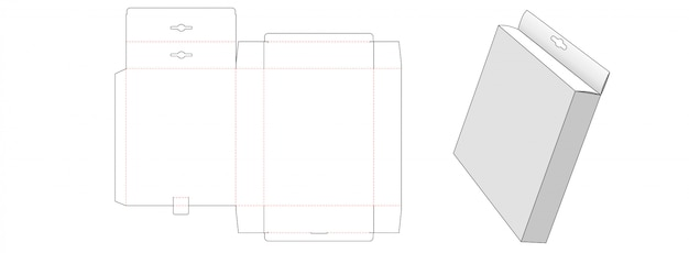 Modelo de corte e vinco de caixa de embalagem superior pendurada