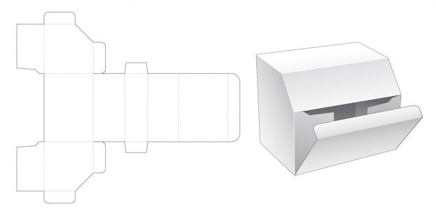 Modelo de corte e vinco de caixa de papelão com ângulo