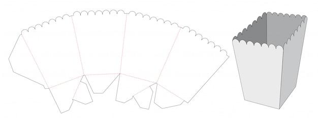 Modelo de corte e vinco de caixa de pipocas