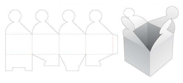 Modelo de corte e vinco de caixa de presente com 4 aletas