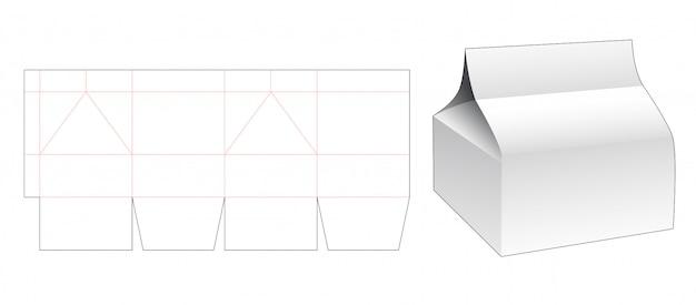 Modelo de corte e vinco de caixa de presente dobrável