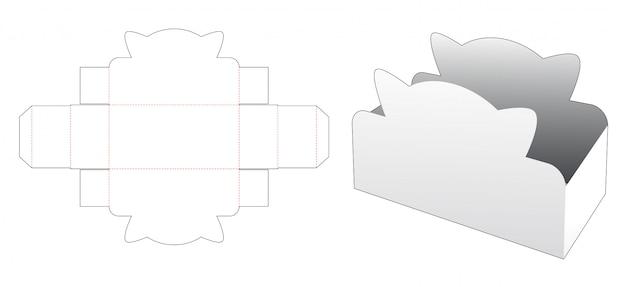 Modelo de corte e vinco de caixa de recipiente de lanche