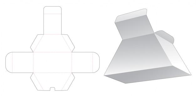 Modelo de corte e vinco de caixa de trapézio de papelão