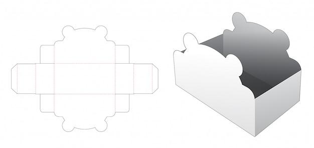 Modelo de corte e vinco de caixa de urso