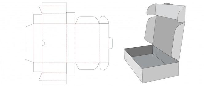 Modelo de corte e vinco de caixa dobrável de papelão