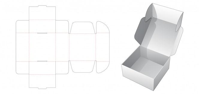 Modelo de corte e vinco de caixa dobrável para padaria
