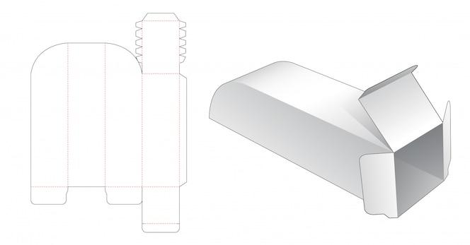 Modelo de corte e vinco de caixa longa exclusiva