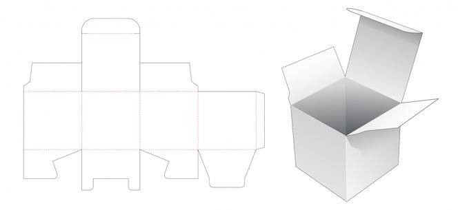Modelo de corte e vinco de caixa quadrada simples