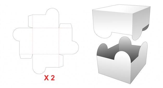 Modelo de corte e vinco de caixa retangular de 2 peças