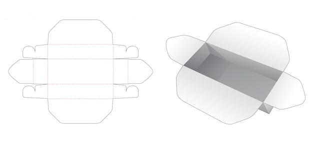 Modelo de corte e vinco de caixa retangular de embalagem