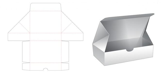 Modelo de corte e vinco de caixa retangular simples