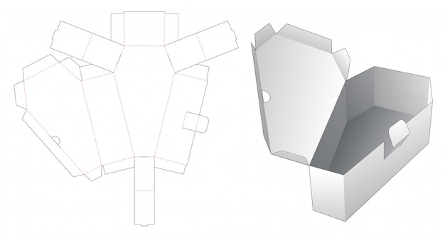 Modelo de corte e vinco de caixão de 1 peça