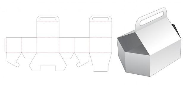 Modelo de corte e vinco de contêiner hexagonal