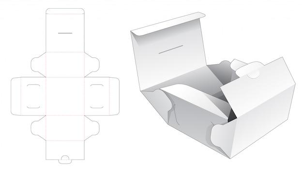 Modelo de corte e vinco de embalagem de caixa de bolo dobrável