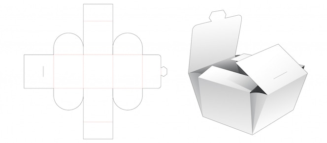 Modelo de corte e vinco de embalagem de padaria dobrável
