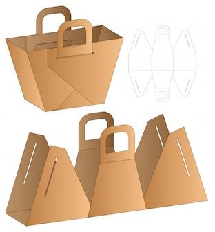 Modelo de corte e vinco de embalagem de saco de papel. 3d
