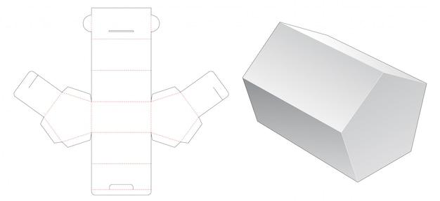 Modelo de corte e vinco de embalagem pentagonal