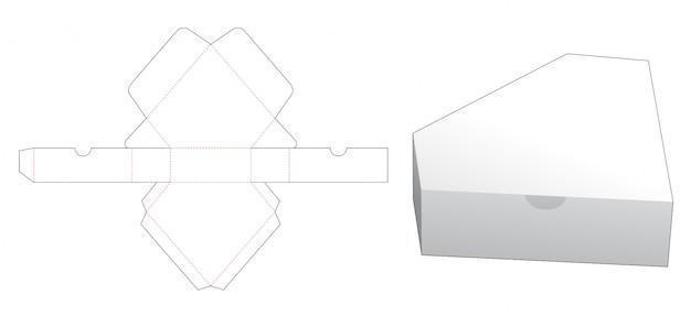 Modelo de corte e vinco em forma de caixa de embalagem