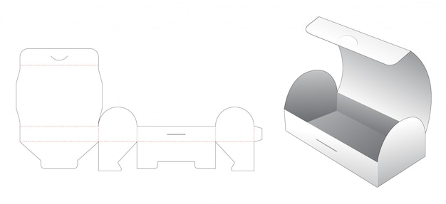 Modelo de corte e vinco em forma de caixa de lanche