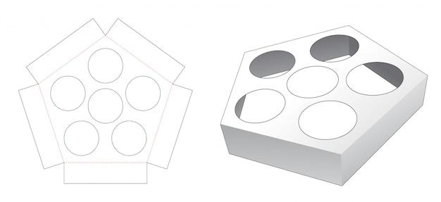 Modelo de corte e vinco em forma de pentágono para inserção de recipiente de bolo