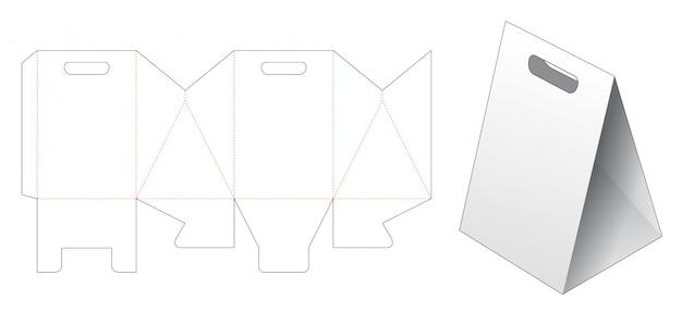 Modelo de corte e vinco triangular saco de papel