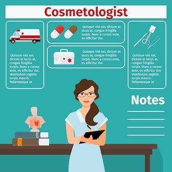 Modelo de cosmetologista e equipamentos médicos