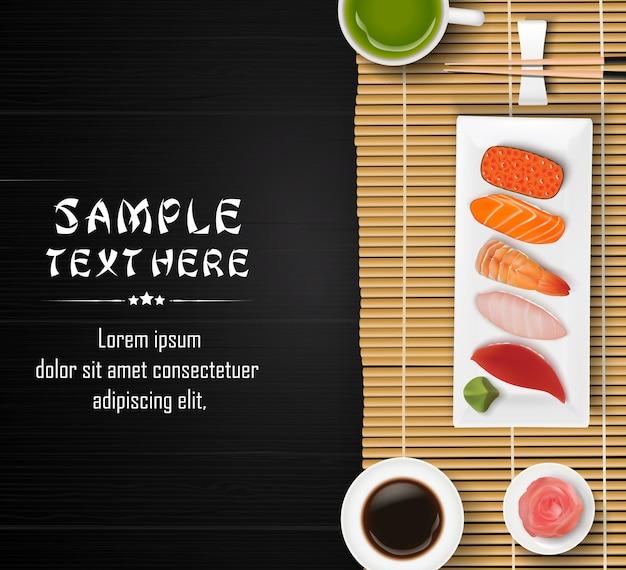 Modelo de cozinha asiática com sushi japonês tradicional