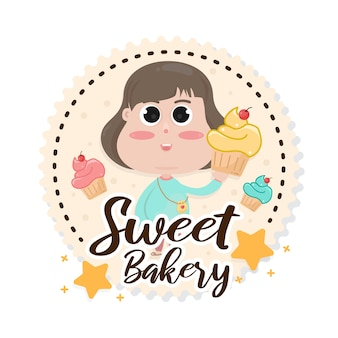 Modelo de crachá de logotipo de padaria de doces. emblema de café e restaurante, símbolo para loja de padaria.