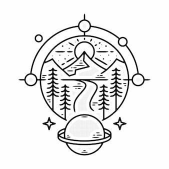 Modelo de crachá de logotipo vintage minimalista ao ar livre planeta ilustração vetorial premium monoline