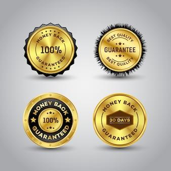 Modelo de crachá de ouro com garantia de devolução do dinheiro