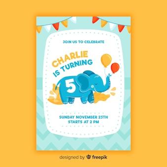 Modelo de crianças de convite de aniversário