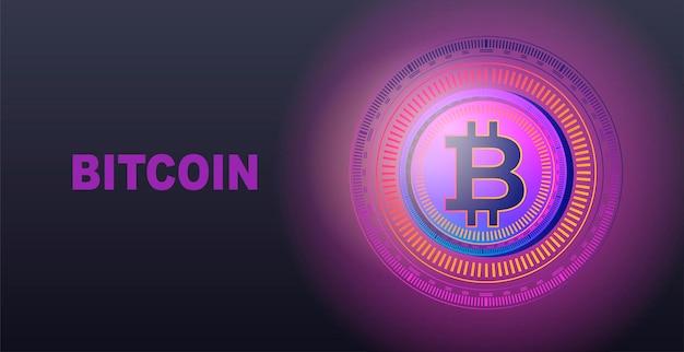 Modelo de criptomoeda de dinheiro eletrônico bitcoin para uma página da web ilustração em vetor banner