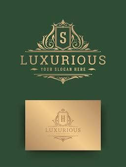 Modelo de crista de monograma de logotipo de luxo.