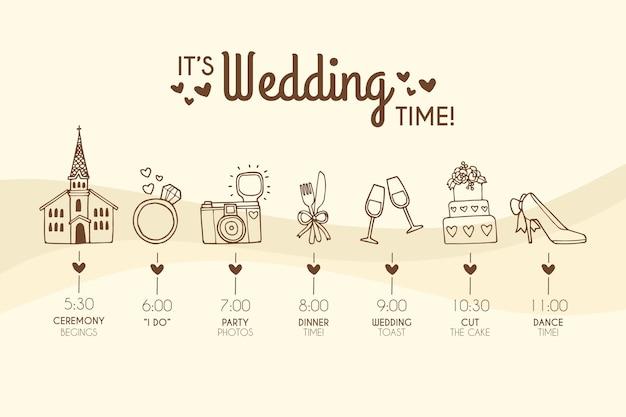 Modelo de cronograma de casamento desenhado de mão