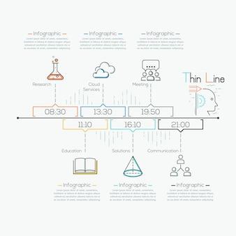 Modelo de cronograma de infográfico de negócio mínimo seta linha fina