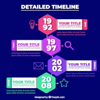 Modelo de cronograma de negócios com estilo infográfico