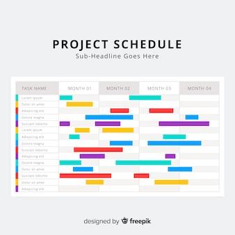 Modelo de cronograma de projeto colorido com design plano