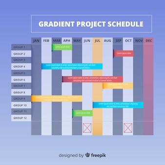 Modelo de cronograma de projeto colorido com estilo gradiente