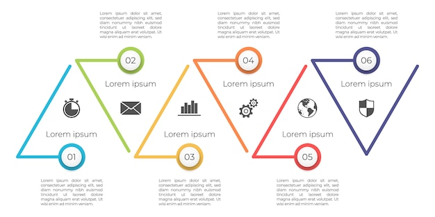 Modelo de cronograma infográfico 6 opções.