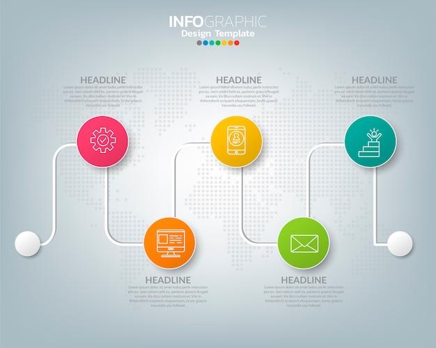 Modelo de cronograma infográfico com conceito de ícones de marketing digital.